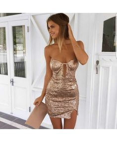 Renata   Gold Sequin Deep Plunge Bodycon Mini Dress