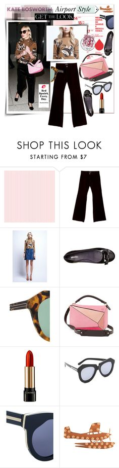 """Get the Look- Kate Bosworth"" by watereverysunday ❤ liked on Polyvore featuring Bell'Invito, Dolce&Gabbana, VANELi, Karen Walker, Loewe, Lancôme, Dot & Bo, katebosworth, airportstyle and velvetpants"