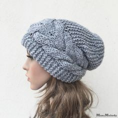 Buy 1 get 2nd for 19.99-Hand knit hat Oversized Chunky Wool Hat slouchy hat grey cable hat