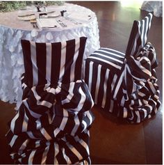 striped chair covers and we've got the tablecloths that match the chairs. Wedding Chair Sashes, Wedding Chairs, Wicker Dining Chairs, Chiavari Chairs, Room Chairs, Dining Room, Nightmare Before Christmas Wedding, Striped Chair, Diy Chair