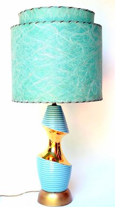 Mid Century Modern Table Lamp ALL ORIGINAL with Resin shade and Filigree Finial in Aqua Blue on Etsy, $1,380.00