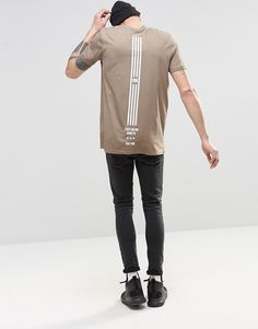 Image 4 of ASOS Longline T-Shirt With Flag Spine Print In Brown                                                                                                                                                                                 More