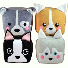 Dog cube plushie/Pitbull Bull Terrier / Corgi / Boston Terrier / Husky / Shiba Inu / Dog loaf plush toy (15.00 GBP) by Plusheez