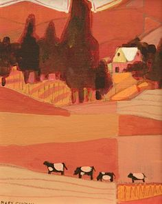 Coral and Pink Cows