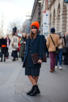 bright beanie, printed dress + boots