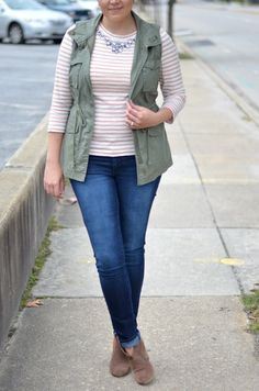 what to wear fall: jeweled striped tee, cargo vest, booties