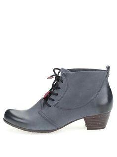 Tamaris - Modrošedé kožené kotníkové boty na podpatku - 1 1f4724cee52