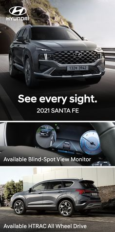 With available features like HTRAC All Wheel Drive and Blind-Spot View Monitor, the newly redesigned 2021 Hyundai SANTA FE helps you see more of the sights around you, including what's in those hard-to-see blind spots. New Hyundai, Hyundai Cars, Micro Braids Hairstyles, Helicopter Kit, Coffee Zone, Dresses For Apple Shape, Luxury Suv, Automotive News, Automobile Industry