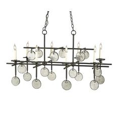 Currey and Company 9124 8 Light Wrought Iron Sethos Rectangular Chandelier with Customizable Shades.  1380.00 orig/ret.