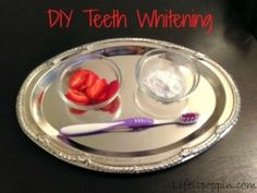DIY teeth whitening 1 Lg. Strawberry + 2 Tbsp Baking Soda. Mash together & brush teeth w/paste, rinse, brush as usual. Use paste 2x/week for 1month, then once a month for maintenance.