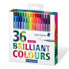 Staedtler Color Pen Set, Set of 36 Assorted Colors (Tripl...