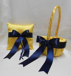 Yellow Navy Blue Wedding Bridal Accessories Bridal Ring Bearer Pillow Flower Girl Basket Your Colors