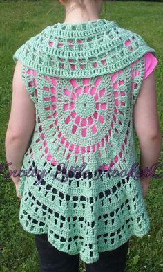 Crochet Circle Vest boho vest hippie shawl flowy short