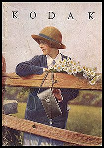 """1928 Kodak Catalog. From 1908 through the 1920s catalogs prominently featured a woman with a camera. 5 x 7"""", 64 pages."""