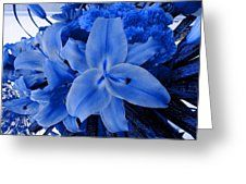 A Lily Bouquet In Blue Greeting Card by Joan-Violet Stretch