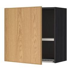 IKEA - METOD, Szafka ścienna z suszarką na naczyn, imitacja drewna czarny, Ekestad dąb, 60x60 cm, , Rozstaw możesz dostosować do własnych potrzeb, bo półka jest regulowana.Drzwiczki można zamontować z prawej lub lewej strony.Solidna konstrukcja obudowy; grubość 18 mmZawiasy z zatrzaskami umożliwiają montaż drzwi bez śrub, a także ułatwiają zdejmowanie drzwi do czyszczenia.