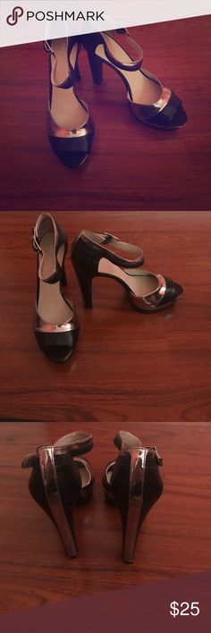 Black/ Silver Heels Worn Once, Good Condition, 5 inches Nine West Shoes Heels