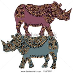 patterned rhinos are on the back of each other - stock vector