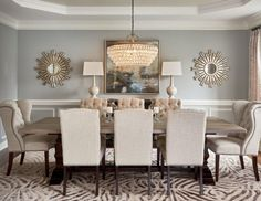 There's no law that says you will need to have your dining room table square in the middle of the space. So, here are a few inspirations of gorgeous modern farmhouse dining room tips that you… Dining Room Wall Decor, Dining Room Design, Dining Room Chairs, Dining Room Furniture, Table Lamps, Decor Room, Dining Set, Dining Room With Mirror, Furniture Ideas
