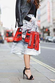 Chicwish London print skirt Iutta red purse Missguided sheer black top