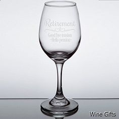 Wine Gifts - Retirement Gift Wine Glass for Women, Goodbye Tension, Hello Pension Etched Wine Glass - WG16