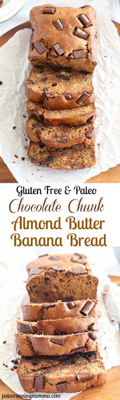 Chocolate Chunk Almond Butter Banana Bread with simple healthy ingredients and the perfect rich moist texture - #glutenfree #grainfree #dairyfree #paleo