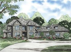 This is a big European plan with a Craftsman look.  There is a balcony that overlooks the foyer.  A great room has a fireplace in the corner.  The kitchen has an island then an eating bar.  If you are looking for a place to put all the ingredients there is a butler's pantry between the kitchen and dining room.  On the second story there are three bedrooms, two bathrooms, a long bonus room and a home theater.