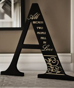 Alphabet Art All Because Two People Fell In Love Engraved Cutout