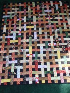 Asian fabric lattice quilt
