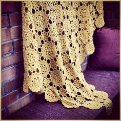Vintage Hand Made Crocheted Throw Blanket Afghan by VBVintage, $42.00