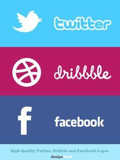 Twitter, Dribble, & Facebook rectangle social media icons