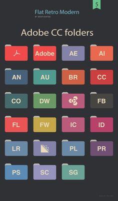 Free Flat Adobe Folders Getting Organized, Adobe, Infographic, Flat Icons, Flats, Retro, Behance, Free, Health