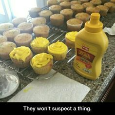 I'm gonna do this someday. Like a few of them will be mustard and the rest will be icing. It will be great