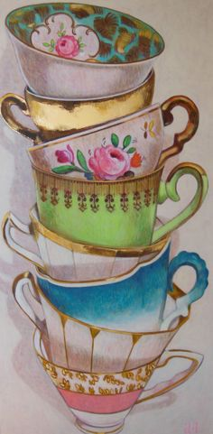 Stapelend:dat is opgestapelde kunst. Tea Cup Art, My Cup Of Tea, Tea Cups, Illustrations, Illustration Art, China Painting, Coffee Art, Fabric Painting, Art Reference