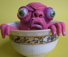 lowbrow figure art doll clay tea cup monster ooak by mealymonster, $65.00