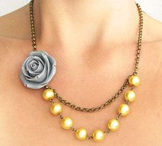 Flower Necklace, Bridesmaid Jewelry, Gray and Yellow Necklace, Bridal Jewelry, Gray Necklace