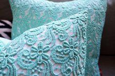 Sukan / 1 Piece Blue Green Lace Pillow Covers Pillow by sukanart, $70.00