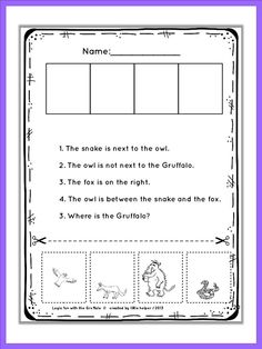 """""""The Gruffalo"""" logic puzzles. Read carefully and find out the exact position of eacht character. From very easy to more challenging. Where is the Gruffalo?"""