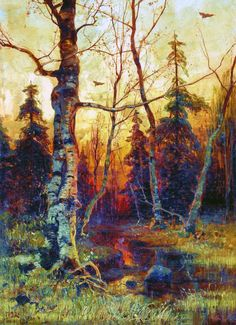 Russian Painter:  Yuly Klever,   'A Landscape'      1892