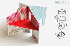 casita de cartón pluma via mamarecicla