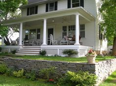 Front porch & dry-stacked retaining wall - traditional - Porch - Philadelphia - Whitefield & Co, LLC Stacked Stone Walls, Porch Lattice, Porch Kits, Front Porch, Porch Addition, Porch Without Railing, House With Porch, Building A Porch, Porch Design
