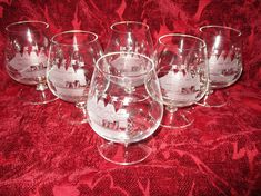 Vintage Brandy Snifters Set of 6 Cocktail Glasses with Etched