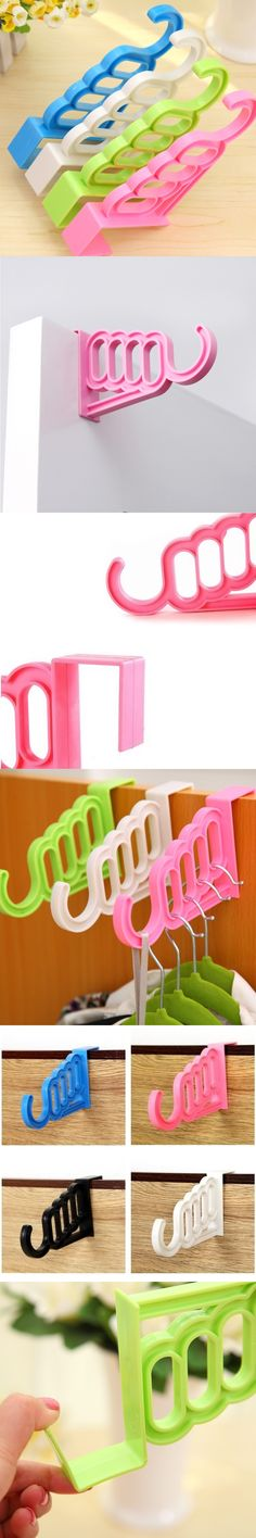 Multi-Function Home Accessories Foldable Clothes Hanger Drying Rack 5 Hole Suit Bathroom Door Plastic Organizer FP8