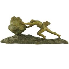"""Art Deco Bronze """"Sisyphus"""" by Ganu Gancheff 