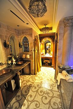 Cinderella's Castle Suite WOW JUST WOW - - - I want something like this in Cloud Castle, but less, ornamented . . . if that makes any sense, i would like it for the Master Bathroom that leads into Genevieve's mother's closet or something :)