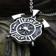 Small Size Firefighter Maltese Cross Fire Department with Crossed Axes Sterling Silver Necklace Pendant David Daffer Designs  #daviddafferdesigns
