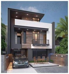 Charming Minimalist House Plan Ideas That You Can Make Inspiration is part of Minimalist house design - Contemporary house plans call for clean, smooth surfaces and an uncluttered appearance Contemporary flair is minimalist in design and features […] Bungalow Haus Design, Duplex House Design, House Front Design, Small House Design, Modern Exterior House Designs, Modern Architecture House, Modern House Design, Amazing Architecture, Exterior Design