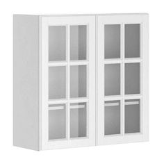 White Wall Cabinet With Glass Doors