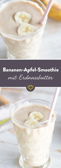 Bananen-Apfel-Smoothie mit Erdnussbutter The kitchen stays cold at 30 ° C in the shade. Instead, there's a light, fresh, and healthy cooling to spoon or sip – a banana-apple smoothie with a dollop of creamy peanut butter. Juice Smoothie, Smoothie Drinks, Healthy Smoothies, Healthy Drinks, Smoothie Mixer, Dessert Oreo, Dessert Recipes, Snacks Recipes, Smoothies Banane