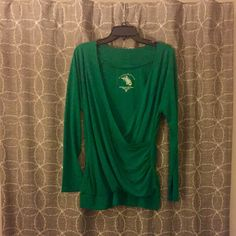 Kelly Green Crossover Top Fitted, green top with long sleeves and a crisscross front. Low cut, so you might need a shell underneath. Reposhing because it didn't fit me. Size XL but more like L. 65% Polyester/ 35% Rayon Allison Brittney  Tops